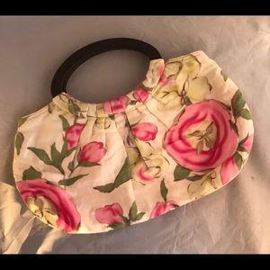 Women's Hand Purse Floral Fabric w Wooden Handles